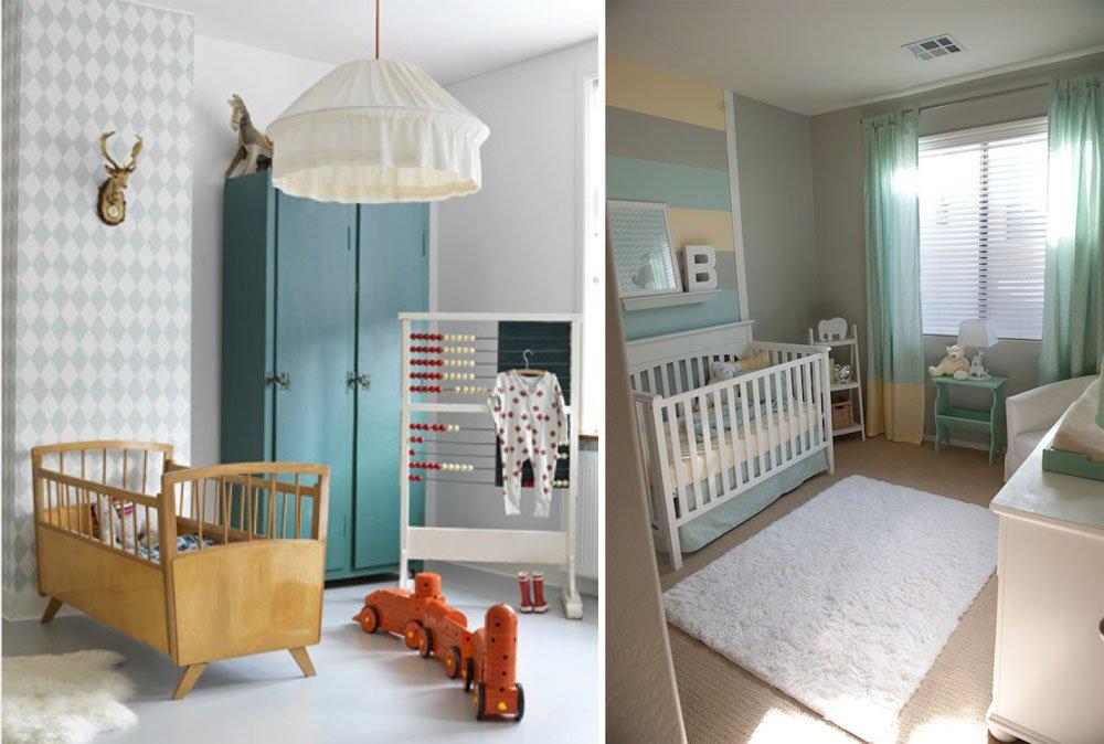 9 habitaciones de beb en colores pasteles for Dormitorio verde agua