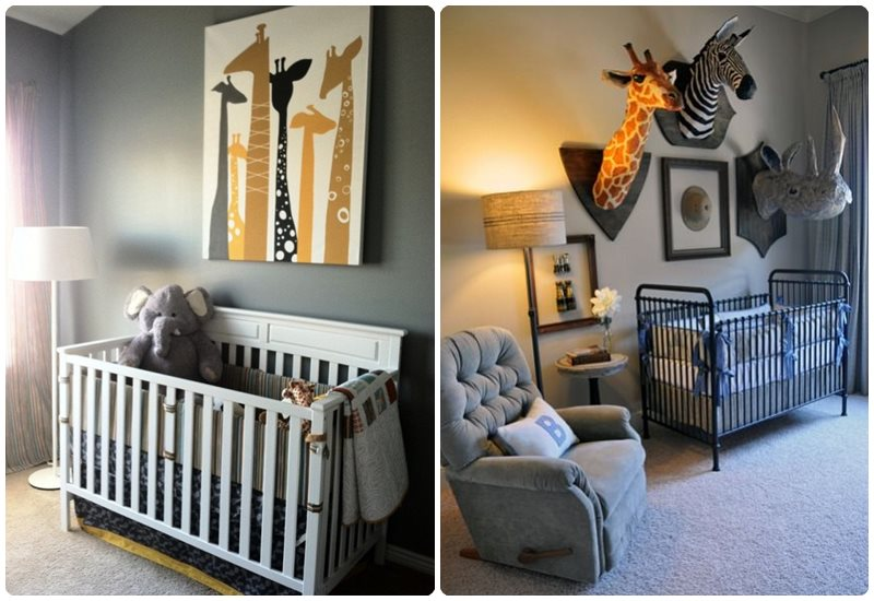 Habitación del bebé con cuadros de animales