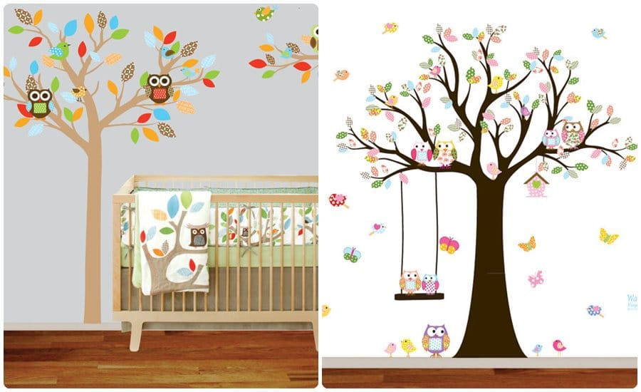 Vinilos infantiles en la habitaci n del beb for Pegatinas pared arbol infantil