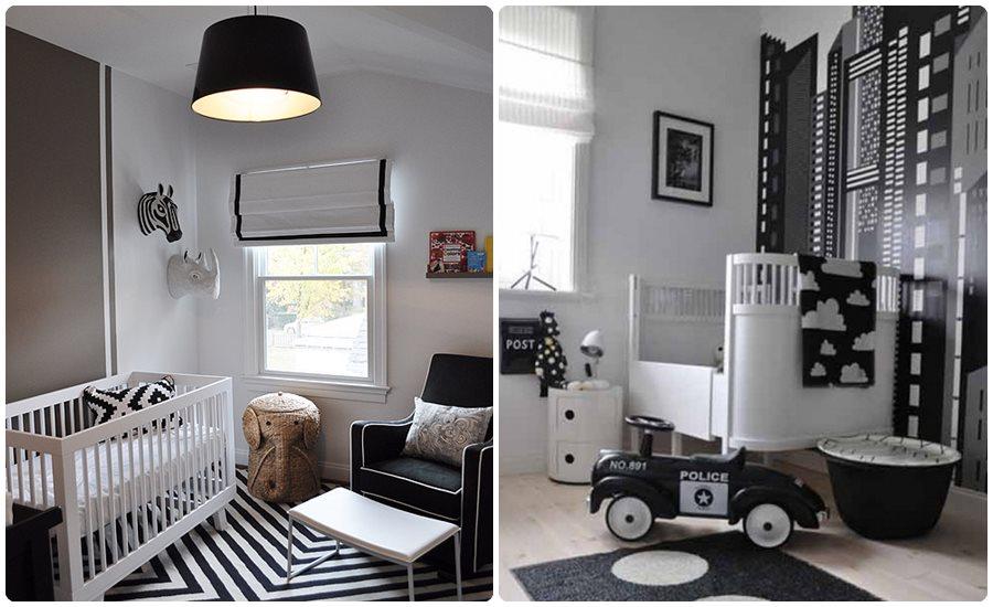 Habitaciones para beb s en blanco y negro - Decoraciones de habitaciones de bebe ...