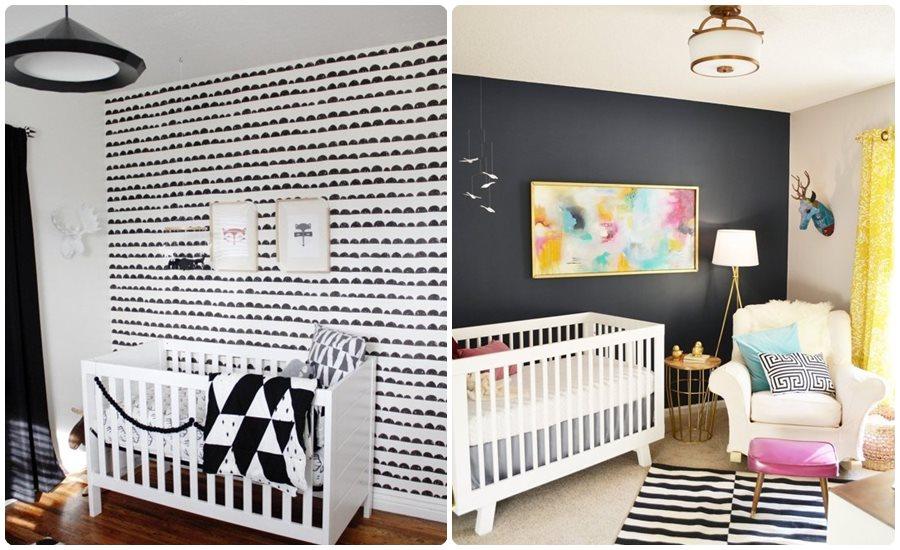 Habitaciones para bebés: blanco y negro