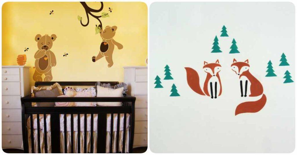 decoracin infantil dibujos con stencil en las paredes