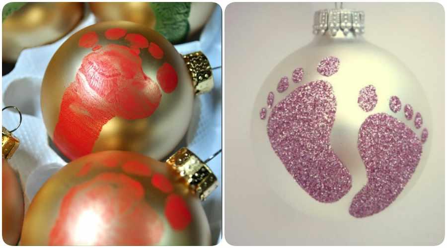 8 adornos navide os para hacer con tu beb - Hacer adornos para el arbol de navidad ...