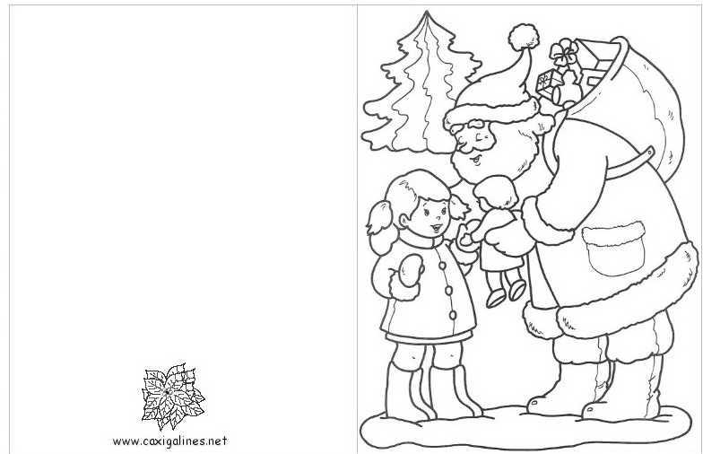 Tarjetas de navidad para colorear e imprimir con pap noel - Laminas de navidad para colorear ...