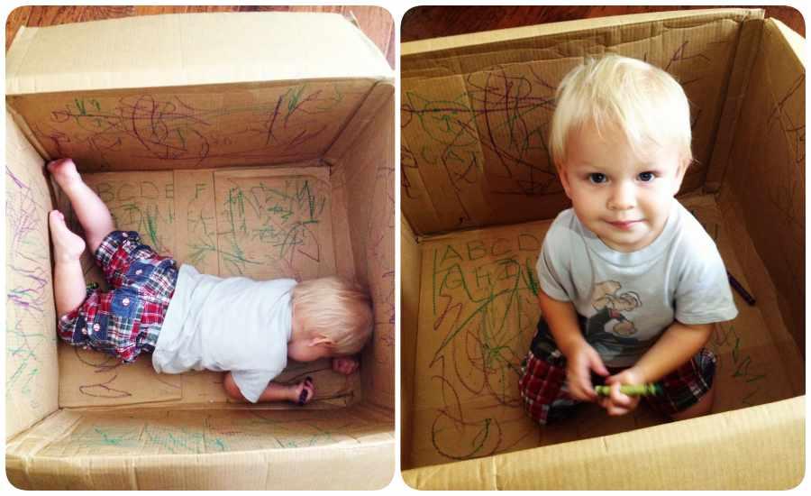 Dibujar en una caja, juguetes reciclados