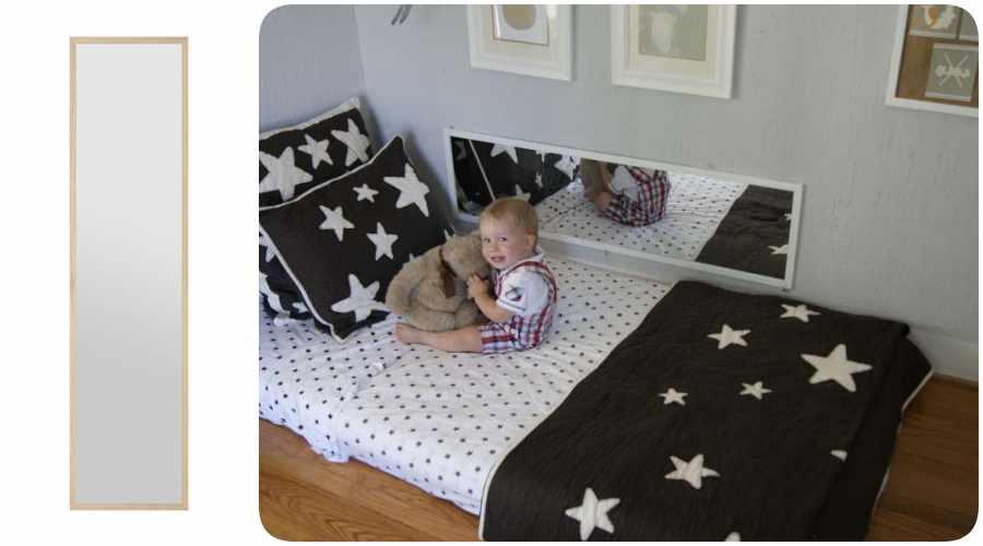 Decoracion Montessori con espejo en el suelo